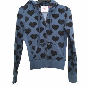 PINK VS Blue and Black Hearts Hoodie Size Extra S